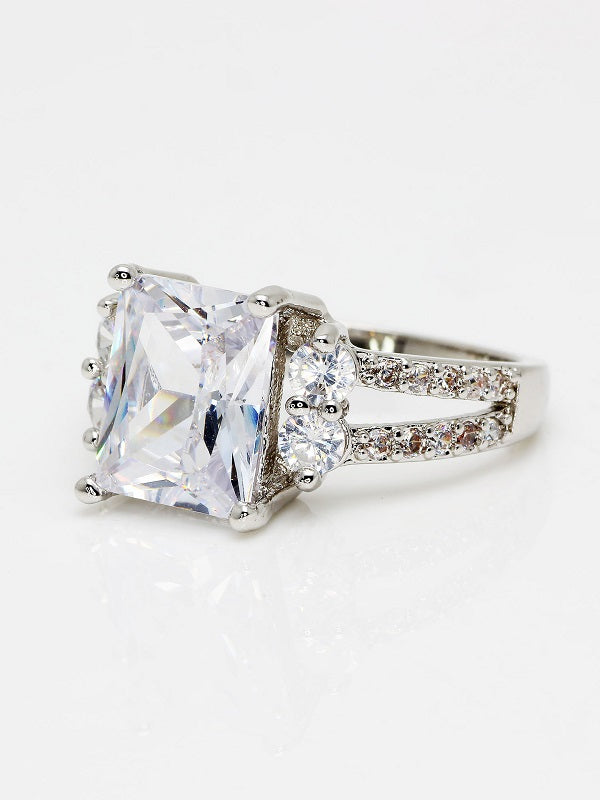 Zallure Rectangular High-grade Platinum Plated Ring