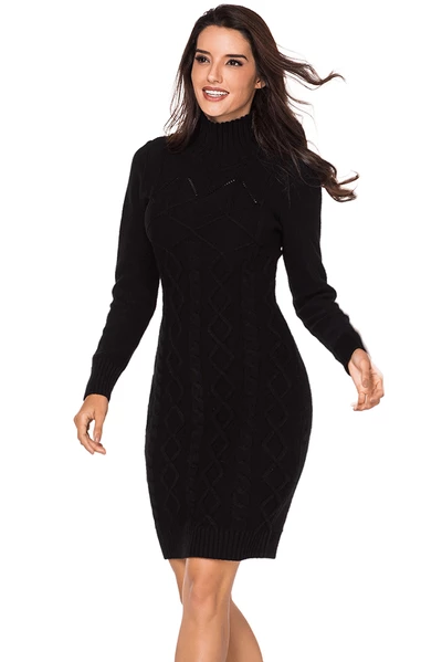 Cable Knit High Neck Sweater Dress