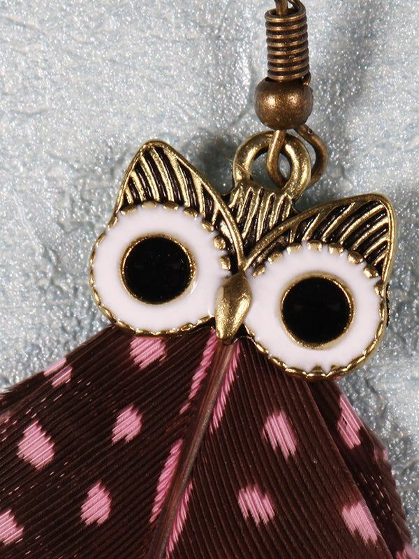 Owl Pattern Irregular Feather Earrings