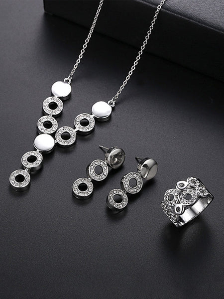 Happy Diamond Crystal Ring&Earrings&Necklace Set