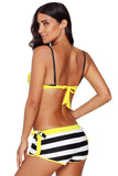 Yellow Wrinkled Bra Striped Bikini Bottom Swimsuit