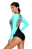 Aztec Print Blue Rashguard Long Sleeve One Piece Swimsuit
