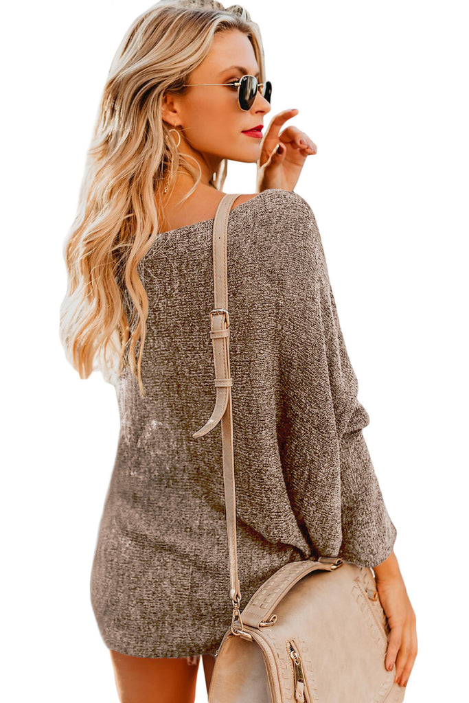Coffee Drop Shoulder Lightweight Knitwear