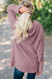 Pink Knit Hooded Cardigan