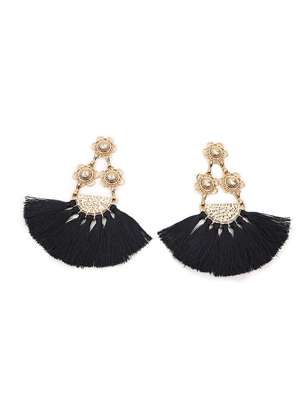 Vintage Flower-shaped Tassel Earrings