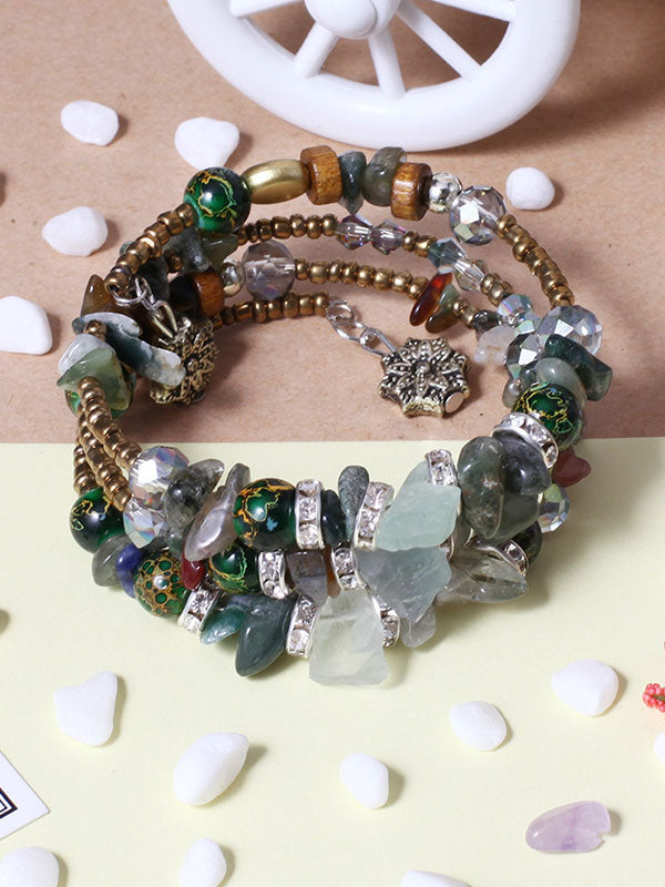 Artificial Crystal Agate Stone Multilayer Bracelet