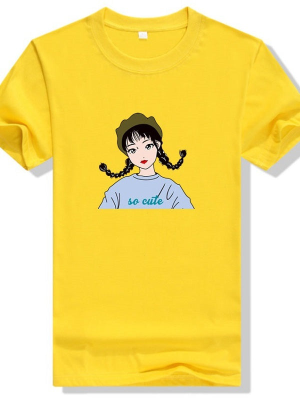 Girl With Two Horsetails Cotton T-shirt