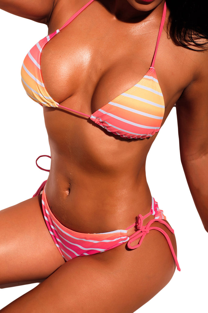 Ombre Pink Striped Halter Bikini with Ties
