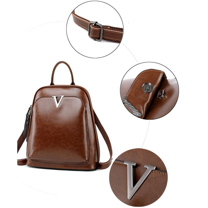 Solid Color Retro Backpack