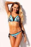 Light Blue Damask Floral Two Piece Bikini Swimsuit