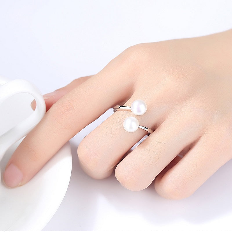 6mm Natural Pearl Adjustable Ring