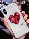Heart Pattern Lanyard Silicone Phone Case
