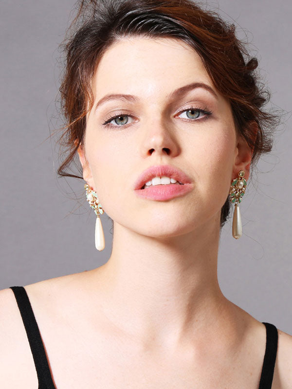 Droplet Pendant Long Earrings