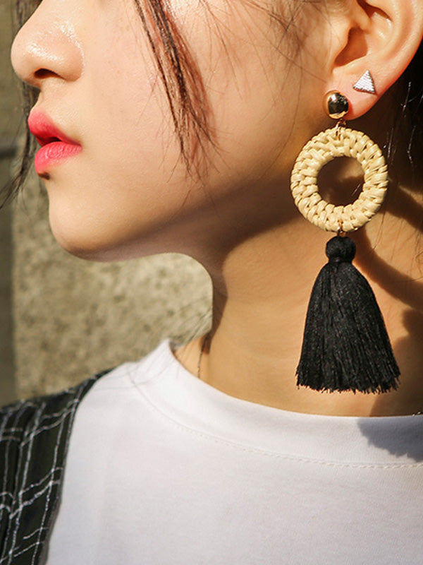 Bohemian Style Round Long Tassel Earrings