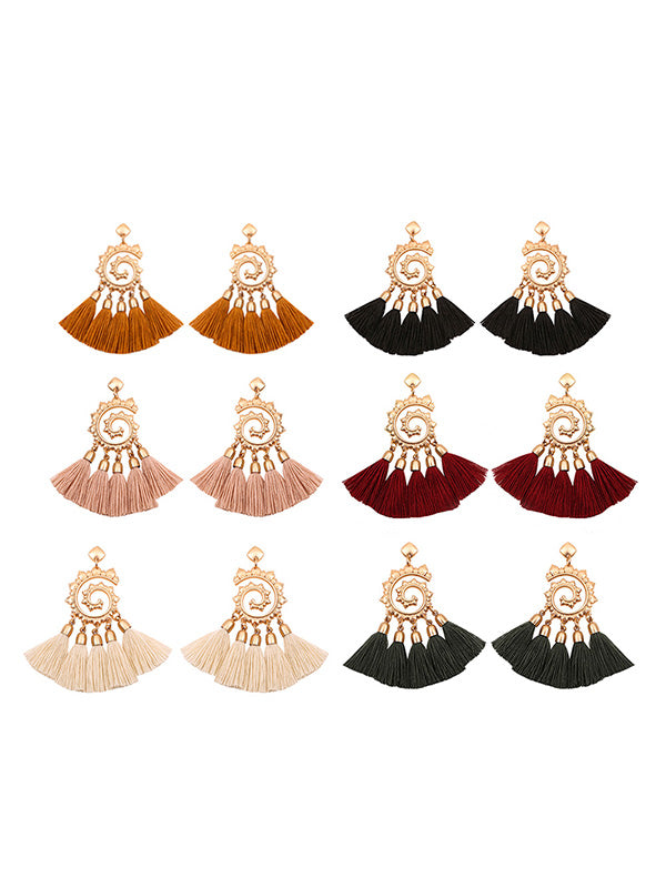 Vintage Snail Pattern Tassel Earrings