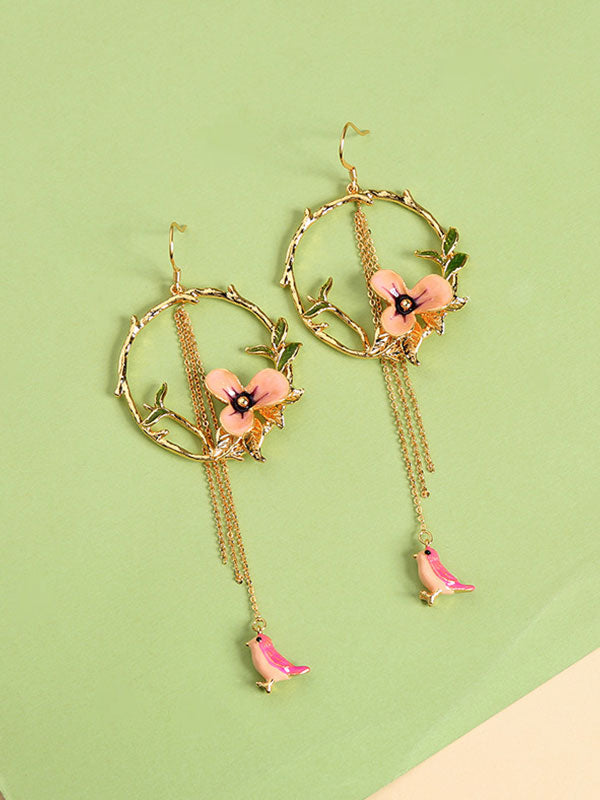 Leaf&flower Round Earrings