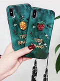 Green Strawberry Lanyard Phone Case