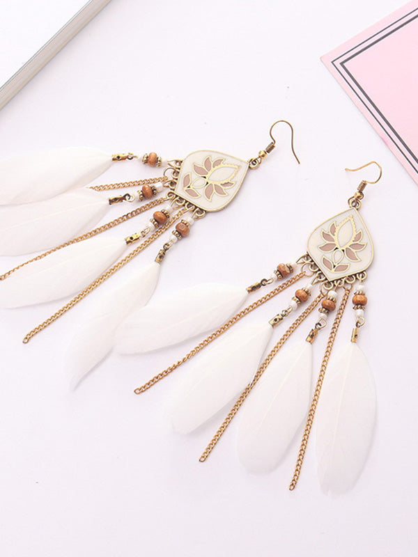 Exotic Feather Tassel Earrings