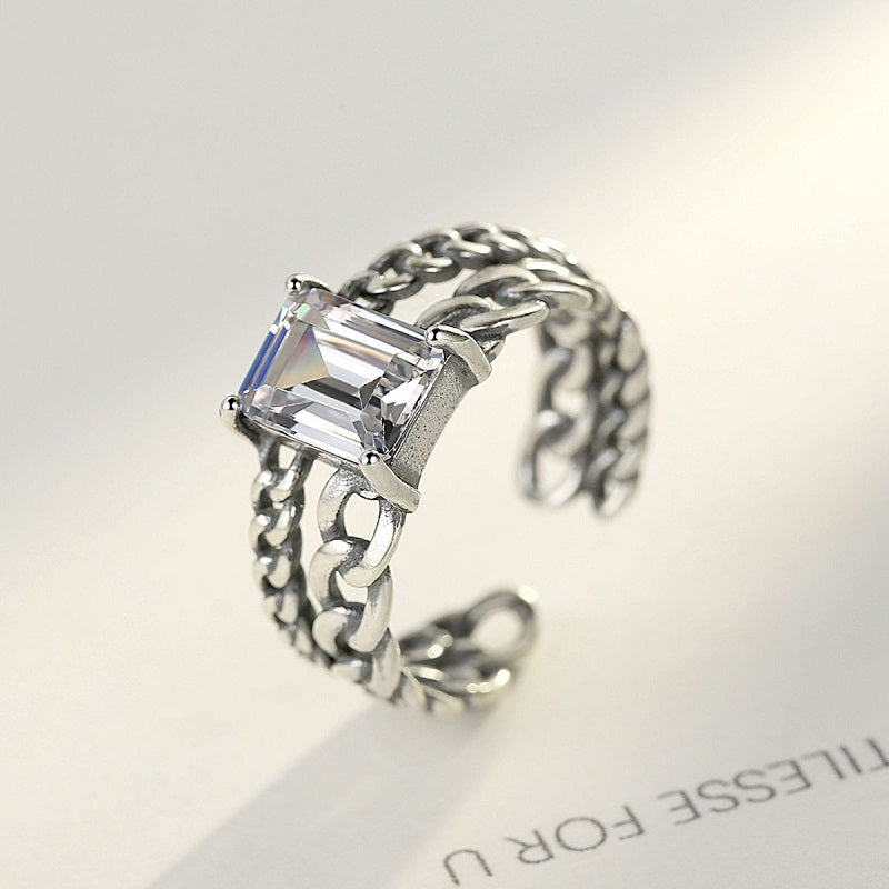 Retro Twist Chain Design Open Ring
