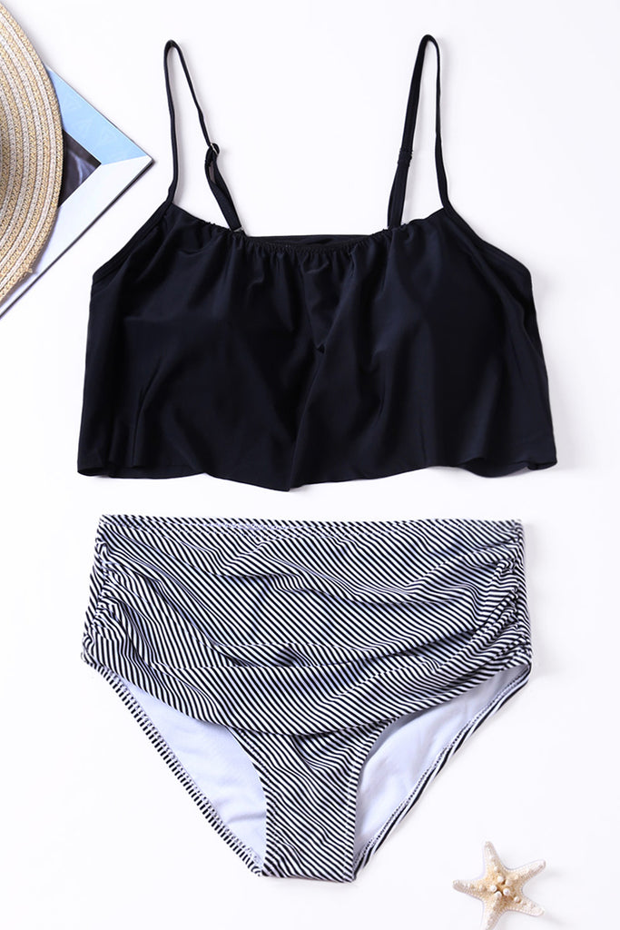Black Top and Striped Bottom High Waist Swimwear