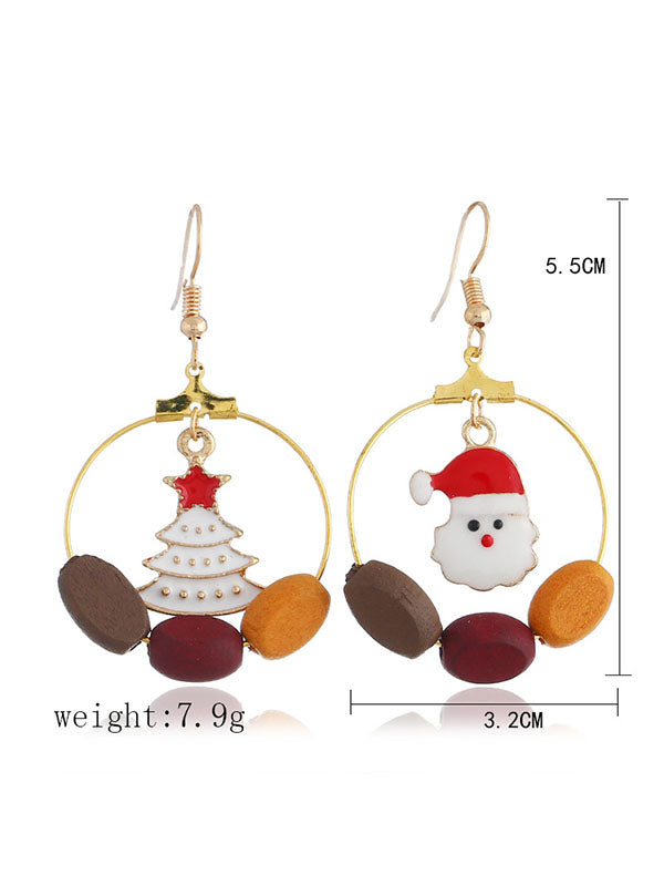 Asymmetrical Pattern Christmas Elements Earrings