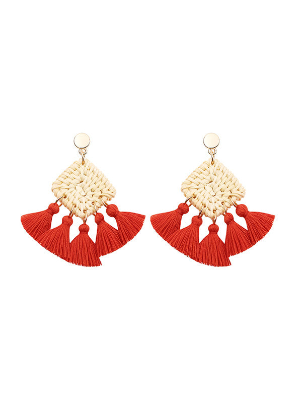 Hand-knitted Tassel Earrings