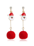 Fur Ball Tassel Santa Claus Earrings