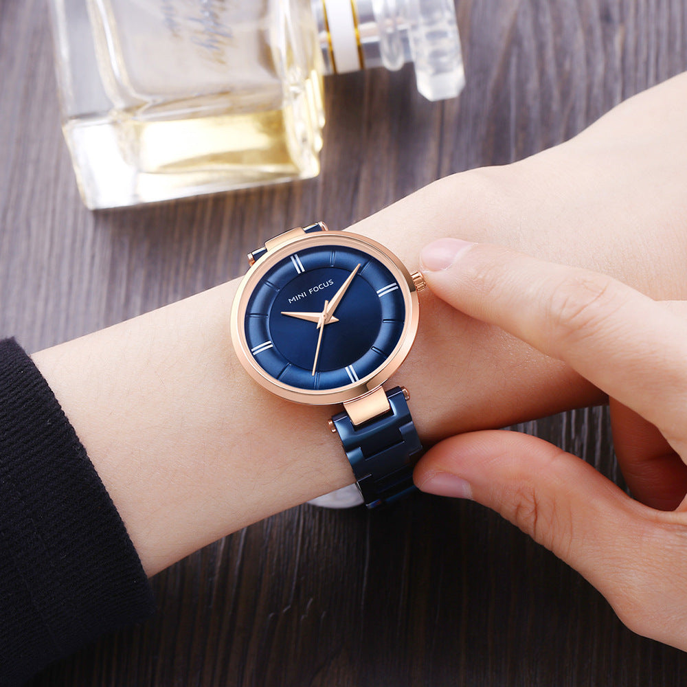 Fashionable and simple steel strip waterproof ladies watch