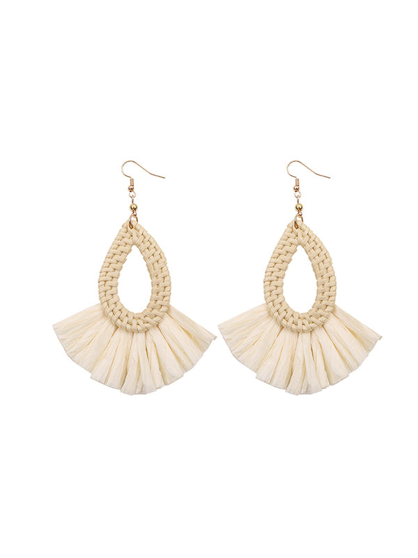 Retro Exaggeration Bohemian Rattan Earrings