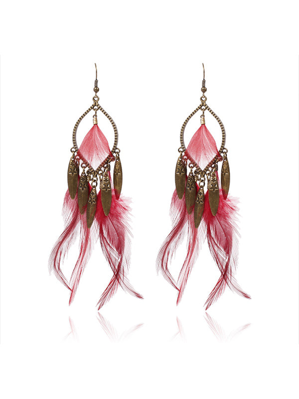 Clothes Pattern Feather Earrings