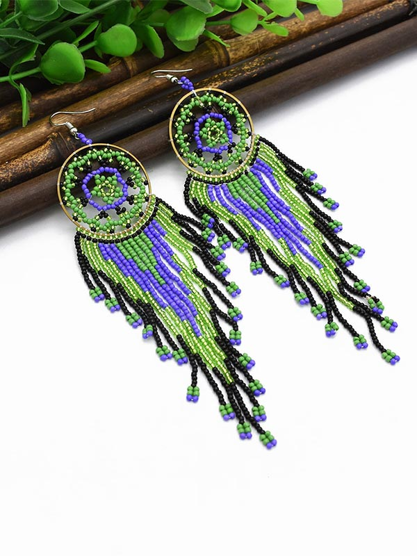 Dream Catcher Rice Beads Earrings