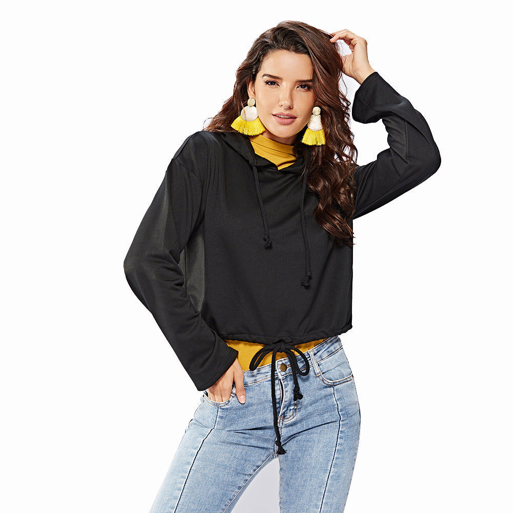 Hooded Long Sleeve Black Sweatshirt