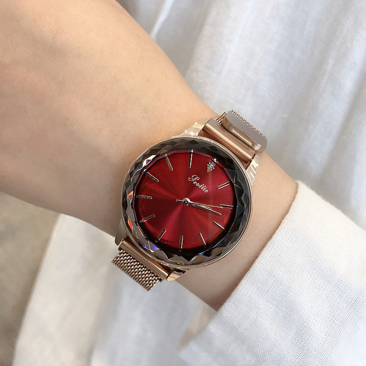 Round Dial Magnetic Strap Women's Watch