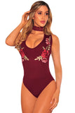 Burgundy Embroidered Rose Choker Bodysuit