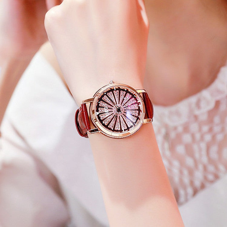 Women's Watch Radiant diamond-studded large dial leather strap elegant watch