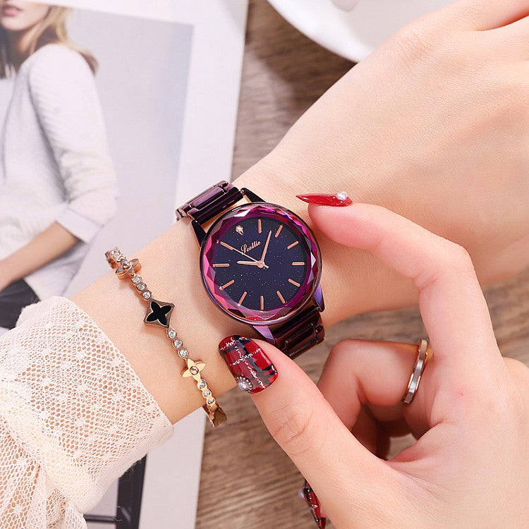 Women's Watch diamond blue starry pattern dial with scale stainless steel strap elegant watch