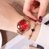 Women's Watch Red Diamond Large Dial Milan Strap Exquisite Waterproof Quartz Simple Watch