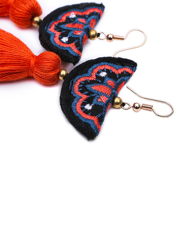 Hand Embroidery Tassel Earrings