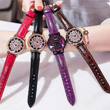 Women's Watch diamond flower petal pattern large dial leather quartz elegant watch