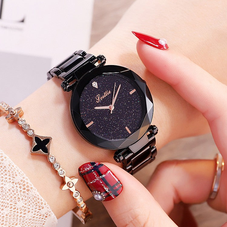 Women's Watch diamond black starry sky dial stainless steel strap elegant watch