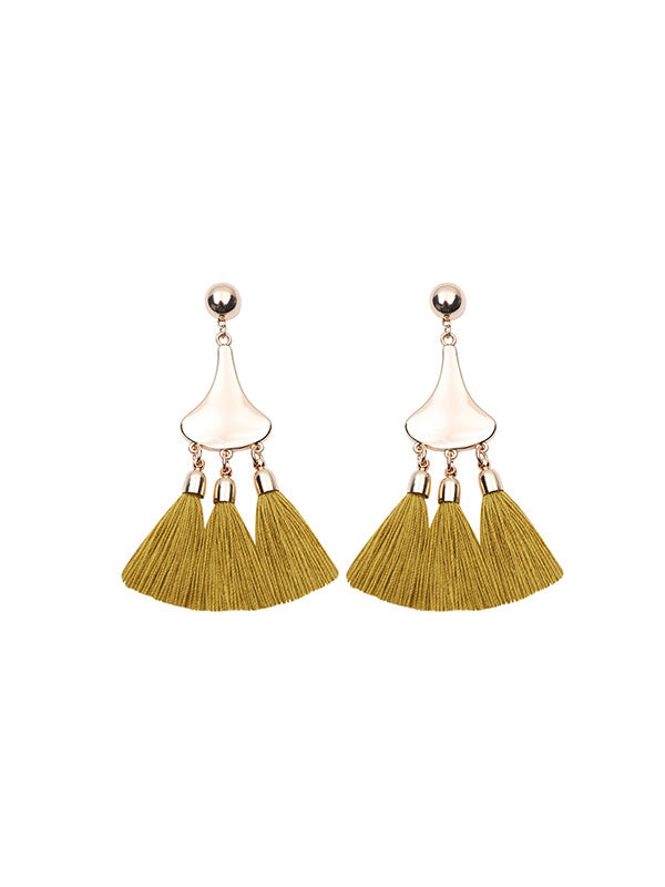 Vintage Gourd-shaped Tassel Earrings