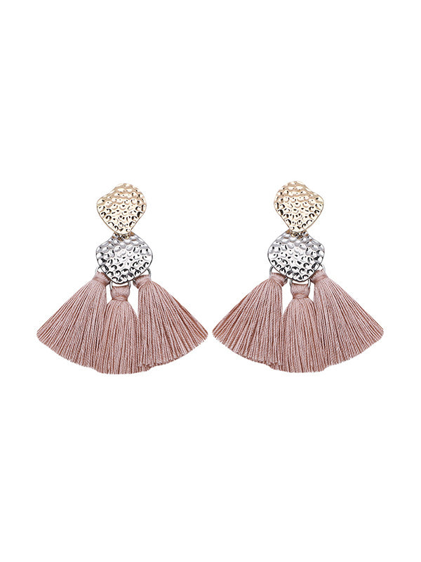 Retro Fan-shaped Alloy Tassel Earrings