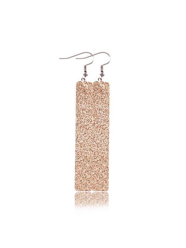 Sequined Rectangular PU Leather Earrings