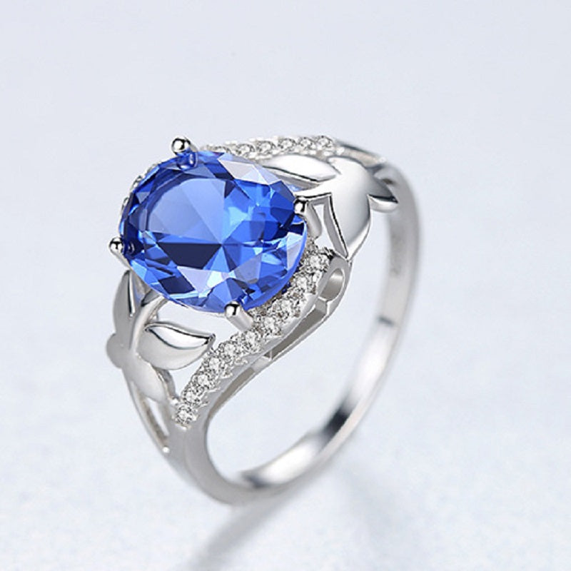 Sapphire Sterling Silver Women's Ring