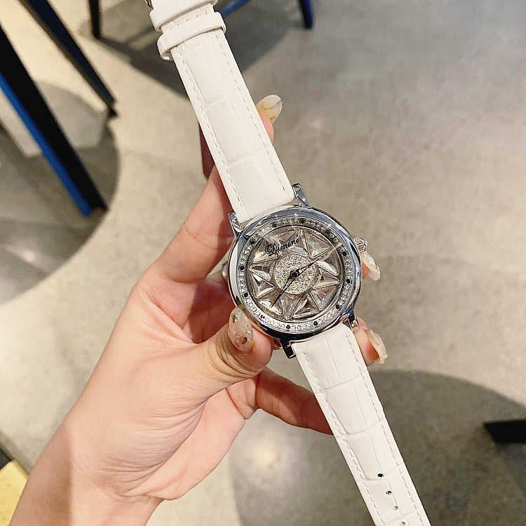 Silver Case Rotatable Women's Watch