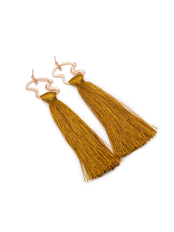 Ethnic Style Exaggerated Long Tassel Earrings