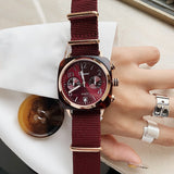 Women's watch British multi-function with calendar square case canvas strap with accurate chronograph watch