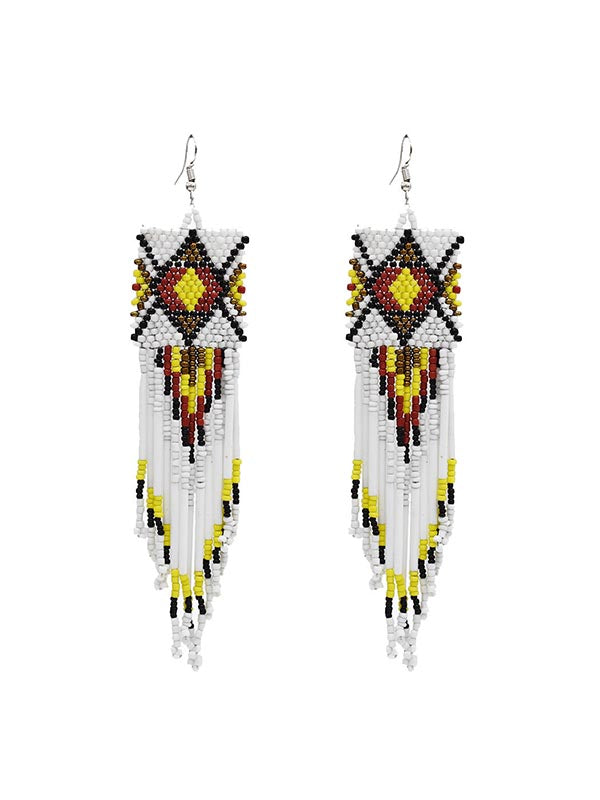 Multicolor Rice Beads Long Tassel Earrings
