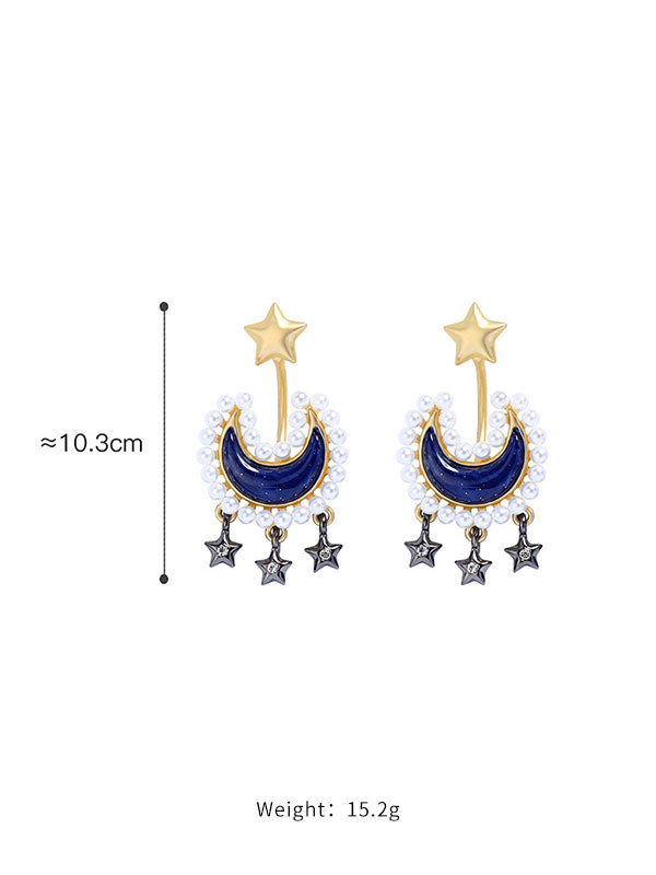 Blue Moon Star Pearl Earrings