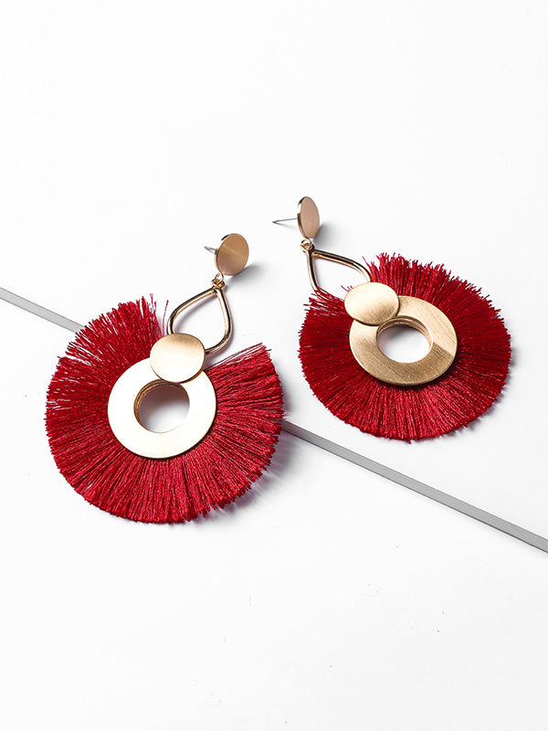 Exaggerated Big Circle Tassel Earrings